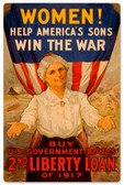 Retro Women Win War Metal Sign 12 x 18 Inches