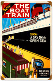 Retro Boat Train Metal Sign 12 x 18 Inches