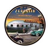 Retro Zepplin Round Metal Sign 14 x 14 Inches