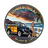 Retro Cowabunga Round Metal Sign 28 x 28 Inches