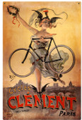 Retro Clement Bicycles Metal Sign 24 x 36 Inches