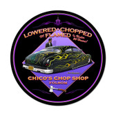 Retro Lowered and Chopped Round Metal Sign 14 x 14 Inches