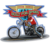 Retro Ride Hard Custom Metal Shape Sign 17 x 13 Inches