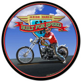 Retro Ride Hard Round Metal Sign 14 x 14 Inches