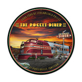 Retro Rocket Diner Round Metal Sign 28 x 28 Inches