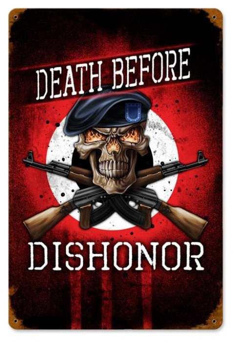 Retro Death Before Dishonor Tin Sign