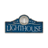 Retro Blue Rock Lighthouse Custom Metal Shape Sign 26 x 12 Inches