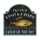 Retro Fish and Chips Custom Metal Shape Sign 18 x 19 Inches