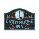 Retro Lighthouse Inn Custom Metal Shape Sign 23 x 17 Inches