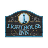 Retro Lighthouse Inn Custom Metal Shape Sign 23 x 17 Inches