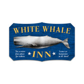 Retro White Whale Inn Custom Metal Shape Sign 17 x 11 Inches
