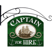Retro Captain For Hire Double Sided  w Wall Mount Sign 18 x 15 Inches