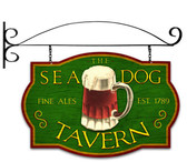 Retro Sea Dog Tavern Double Sided  with Wall Mount Sign 24 x 16 Inches