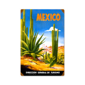 Retro Mexico Cactus  Metal Sign 12 x 18 Inches
