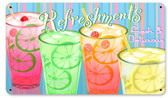 Refreshments Food and Drink Metal Sign 14 x 8 Inches