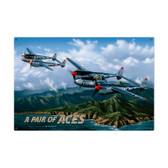 Retro Pair of Aces Metal Sign 36 x 24 Inches