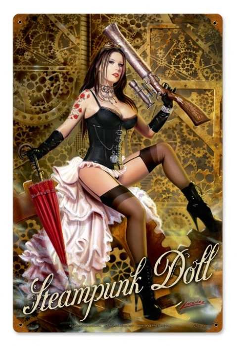 Vintage Steampunk Doll Pin Up Girl Metal Sign