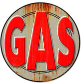 Retro Gas Round Metal Sign 14 x 14 Inches