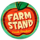 Retro Farm Stand Round Metal Sign 28 x 28 Inches
