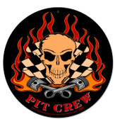 Pit Crew Round Metal Sign 14 x 14 Inches