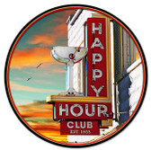 Happy Hour Round Metal Sign 28 x 28 Inches