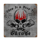 Chop it Drop It Vintage Metal Sign 12 x 12 Inches