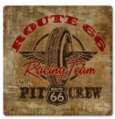Route 66 Racing Vintage Metal Sign 12 x 12 Inches