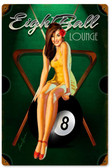 Eight Ball Pinup Vintage Metal Sign 12 x 18 Inches