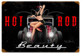 Hot Rod Beauty Vintage Metal Sign 18 x 12 Inches