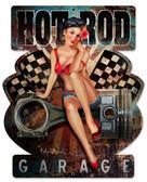 Hot Rod Garage Custom  Shape Metal Sign 15 x 18 Inches