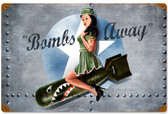 Bombs Away Vintage Metal Sign  18 x 12 Inches