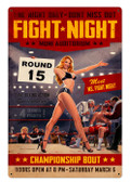 Vintage Fight Night Metal Sign 24 x 36 Inches