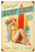 Surfer Girl Vintage Metal Sign 12 x 18 Inches