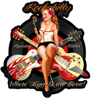 Rockabilly Recording Custom Shape Metal Sign 22 x 24 Inches