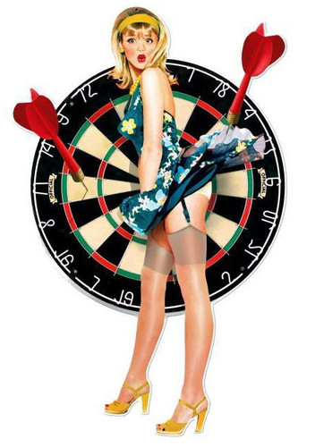 Bullseye Pinup Custom Shape Metal Sign 18 X 28 Inches