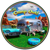 Camp Out XL Round Metal Sign