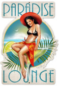 Retro Paradise Lounge Custom Shape Metal 16 x 24 Inches