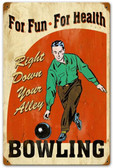 Bowling for Health Vintage Metal Sign 12 x 18 Inches