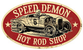 Speed Demon Hot Rod Shop Oval Metal Sign 24 x 14 Inches