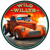 Wild Willys Hot Damn Hot Rod Metal   Round Metal Sign 14 x 14 Inches