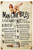 Man Cave Rules  Metal Sign 12 x 18 Inches