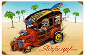 Surfs Up Vintage Metal Sign 18 x 12 Inches