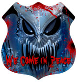 Vintage-Retro We Come in Peace Shield Metal-Tin Sign