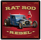 Rat Rod Rebel Metal Sign 18 x 18 Inches