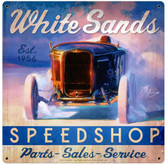 White Sands Speed Shop Vintage Metal Sign 18 x 18 Inches