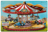Crazy Kids Carousel Vintage Metal Sign 36 x 24 Inches