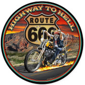 Highway to Hell Round Metal Sign 14 x 14 Inches