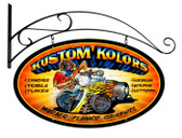 Vintage-Retro Kustom Kolors Double Sided Oval Metal-Tin Sign with Wall Mount