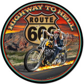 Highway to Hell Round Metal Sign 28 x 28 Inches
