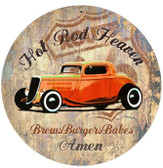 Hot Rod Heaven Round Metal Sign 14 x 14 Inches